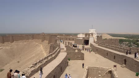 Khairpur Kot Diji Fort Courtyard with High Angle View of the Walls and Watchtower on a Sunny Blue Sky Day Filmati Stock