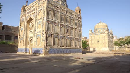 khan : Hyderabad Tombs of the Talpur Mirs Largest Tomb of Mir Karam Ali Khan Picturesque Side View During Sunrise Stock Footage