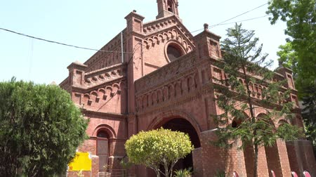 temyiz : Lahore Holy Trinity Church of Pakistan Diocese at Neela Gumbad Anarkali Bazaar Side View on a Sunny Blue Sky Day