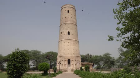 imperador : Sheikhupura Hiran Minar Front View of the Minaret with Flying Birds on a Sunny Blue Sky Day