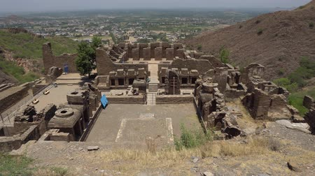 archeological : Mardan Takht-i-Bahi Throne of the Spring Water Panoramic View of the Buddhist Monastery on a Sunny Blue Sky Day