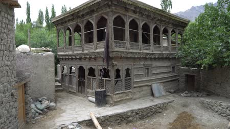 gilgit baltistan : Shigar Khilingrong Wooden Mosque Picturesque Breathtaking Side View on a Cloudy Rainy Day