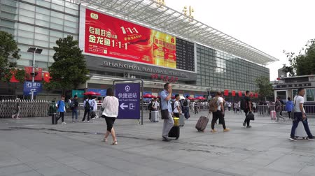 основной : Shanghai Railway Station Nanchang South Square with People Walking during Golden Week Holiday National Day of Peoples Republic of China