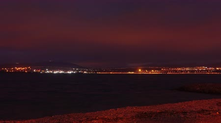 nuvem : Timelapse. Greece, mediterranean sea coast night landscape