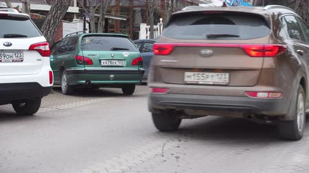 расфокусированный : Gelendzik, Russia - March 09, 2018: European street with auto on the street