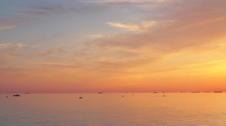 lanscape : Majestic sunset, many different ships and yachts in the sea, 4k pro res video. Stock Footage