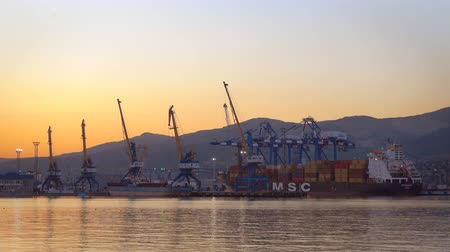 freighter : Novorossiysk, Russia - June 28, 2018: Big container ocean ship in large russian port Novorossiysk at sunset.