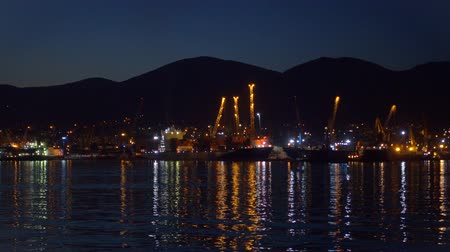 caricamento : Carico e terminal petrolifero in grande porto di notte, video Full HD pro res. Filmati Stock