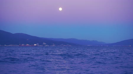 Beautiful night and full moon over port city, ships in the distance, 4k. Dostupné videozáznamy