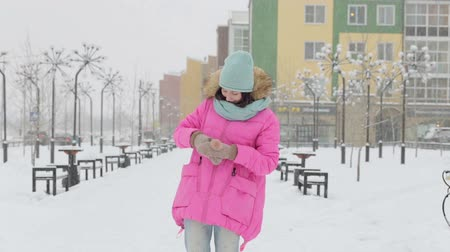 dospělý : Woman Walking Down the Street in Winter Dostupné videozáznamy