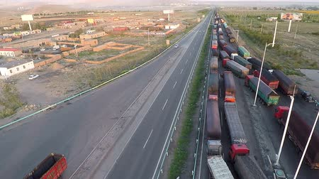 wayside : Traffic jam of trucks on the border countries Stock Footage