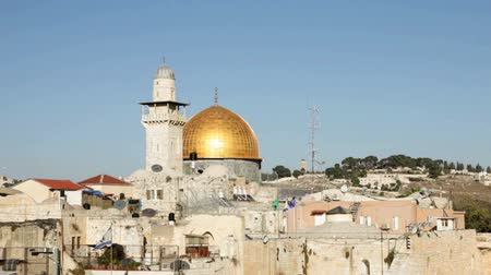 régi : Dome of the Rock and the Western Wall in Jerusalem