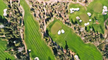 поле для гольфа : Aerial view of a golf course Стоковые видеозаписи