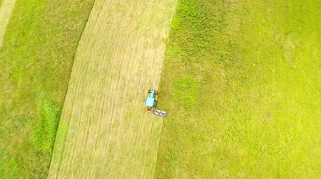 row : Harvesting hay Stock Footage