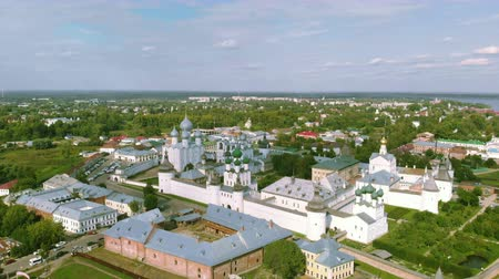Aerial view of Rostov Kremlin and Lake Nero in Northern Russia