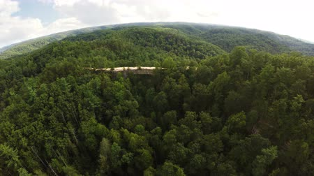 Aerial view of natural bridge in Daniel Boone National Forest in Kentucky Стоковые видеозаписи