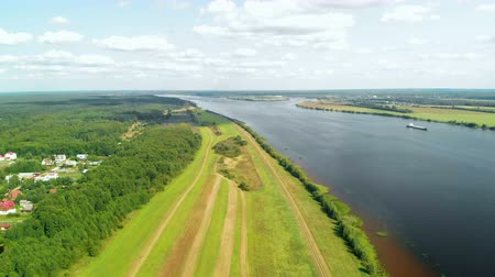 Aerial view of the Volga River near the city of Yaroslavl in Russia