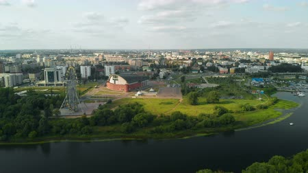 Aerial view of Russian city of Yaroslavl and the Kotorosl River Стоковые видеозаписи