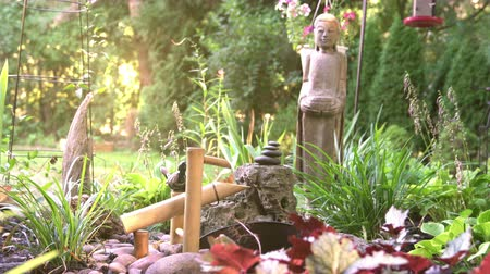 religions : Buddha garden with water feature Stock Footage