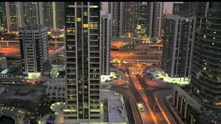 Modern buildings along Sheikh Zayed Road in Dubai, UAE Стоковые видеозаписи