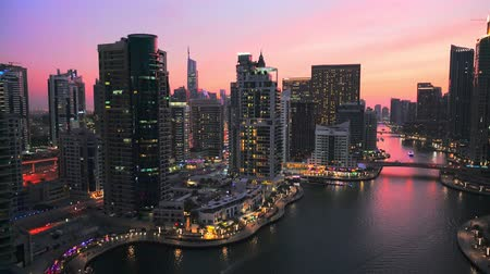 Panoramic view of modern building in Dubai Marina, UAE