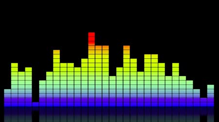 ekolayzer : Digital colorful music equalizer showing volume with reflection on black background