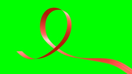 stuha : Red ribbon moving in the shape of loop with green screen, animated decorative element, 3D animation, Ultra HD 2160p 3840x2160