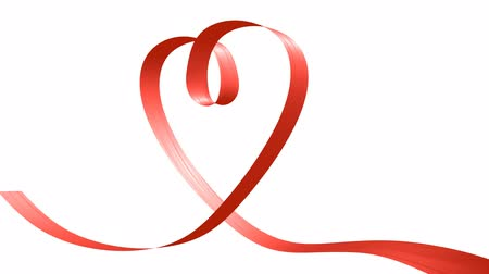 forma tridimensional : Love and wedding concept: red ribbon moving in the shape of heart, 3D animation, alpha matte channel included, Ultra HD 2160p 3840x2160 Vídeos