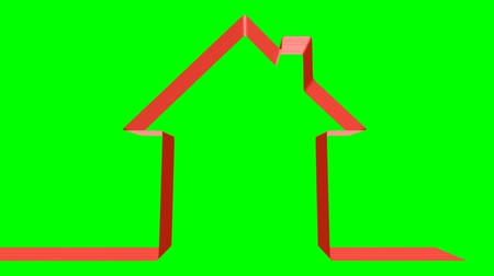 лента : Real estate and home construction concept: red ribbon moving in the shape of house with green screen, 3D animation, Ultra HD 2160p 3840x2160