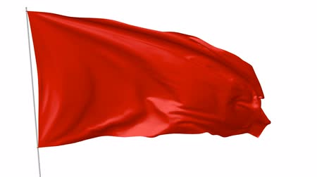 red symbol : Blank plain red flag with flagpole waving in the wind, 3D animation with with luma matte alpha channel included