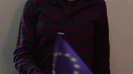 bruxelas : A young attractive girl waving the flag of the European Union. Stock Footage