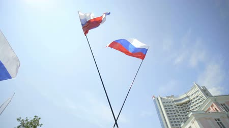 rewolucja : Flag of Russia on flagpole