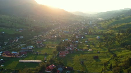 széna : Aerial view above Sadova village, Bucovina