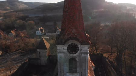 saxon : Aerial view of Gherdeal village in Romania. Fortified church in Transylvania Stock Footage