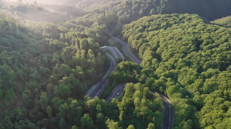 transilvânia : Aerial view of cars driving on a curvy mountain road