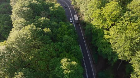 Румыния : Aerial view of cars driving on a curvy mountain road