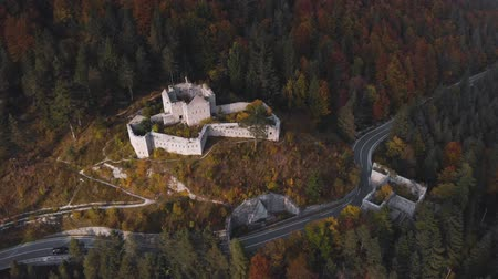 Autumn aerial view of Fort Predel, in Slovenia, at the foot of The Julian Alps