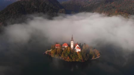 Aerial autum view of Lake Bled, Slovenia 무비클립