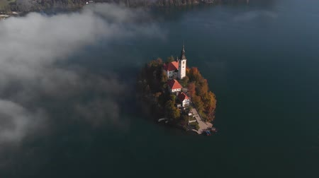 Aerial autum view of Lake Bled, Slovenia Стоковые видеозаписи