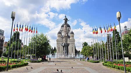 heroes square : Orthodox Cathedral and Avram Iancu Statue in Cluj Napoca