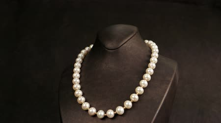 biżuteria : Elegant pearl necklace on a mannequin overview, jewelry made of pearls, classic jewelry for ladies, pearl necklace in storefront of a jewelry store, Pearl necklace, Jewelry in the mall Wideo