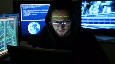 süzülme : Hacker portrait, Male Criminal cracking system, hacker using laptop, computers to infiltrate network system, Computer Terrorism, Unlawfully tracking of people, objects, Internet espionage,