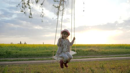 swing : Happy little child have fun sway spin on swing on nature sunset, Female kid swaying, in forest park, children on swing, portrait cute girl, shakes on hanging from tree swing, slow motion Stock Footage