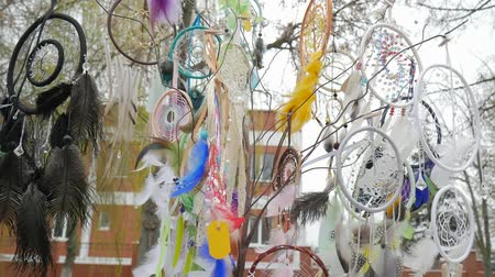 племенной : Souvenir dreamcatchers on sale swinging in wind at market stall, Tree with colored catchers, dreamcatcher at outdoors, Indian Amulet for pleasant dreams, relieve nightmares dream, waving feathers Стоковые видеозаписи