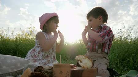 come : playing Children, having fun in fresh air, brother and sister at picnic, family resting in nature, Children laugh happily, good mood, happy Girl and boy eating bakery, healthy food for healthy child, Vídeos