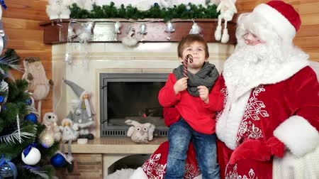 fire arms : child sitting on santas lap, kid visit saint nicolas winter residence, little boy with christmas sweet tell santa claus his wishes, room with fireplace and decorated christmas tree, holiday atmosphere Stock Footage