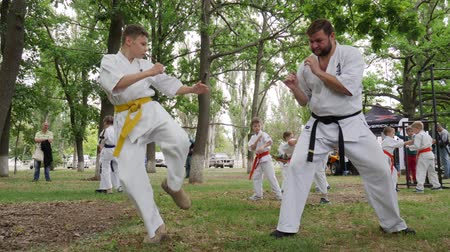 provést : Kherson, Ukraine - 27 May 2017: City Festival trainer karate spend martial arts training into park, groups children in kimono participate in kyokushin outdoors, sport for kids in open air