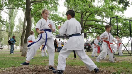 provést : Kherson, Ukraine - 27 May 2017: City Festival boy and girl in kimono participate single fight, karate outdoors, martial arts training in park, sports for kids, fight children, slow motion
