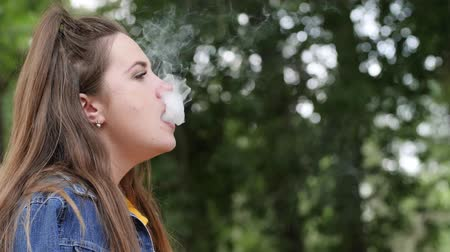 saborear : young women smoking hookah in open air, woman pull hookah in parkland, beautiful girl outdoors, lovely female in hale taste tobacco on vacation, slow motion Vídeos