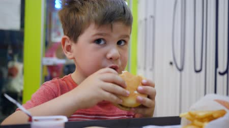 kečup : Small boy eats with appetite in small childrens restaurant, Beautiful baby eating, Kid plays with harmful food at table, Hamburger and French fries for snack for son, Oily food in school cafeteria, Dostupné videozáznamy